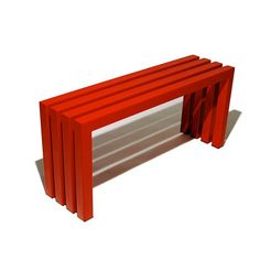 Linear Steel Bench Red by Sarabi Studio