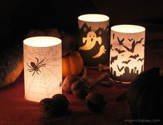 This gave me an idea. Wrap battery operated candles with lightweight paper with Halloween images. Then just remove it when Halloween is over with. Retro Halloween, Spooky Halloween, Halloween Candles, Holidays Halloween, Halloween Crafts, Halloween Clothes, Costume Halloween, Happy Halloween, Halloween Party