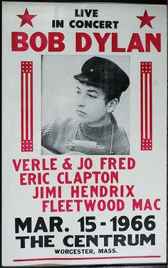1966 Bob Dylan Concert Poster — with Merle & Jo Fred, Eric Clapton, Jimi Hendrix & Fleetwood Mac. Who was Merle and Jo Fred? Eric Clapton, Rock Posters, Band Posters, Event Posters, Movie Posters, Jimi Hendrix, Blues Rock, Rock And Roll, Vintage Cartoons