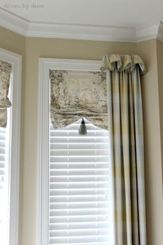 Window Treatments for Those Tricky Windows - Love the faux shade! Window Treatments for Those Tricky Windows – Driven by Decor La mejor imagen - Curtains And Draperies, Drapery Panels, Valances, Burlap Curtains, Cornices, Bedroom Curtains, Bay Window Treatments, Window Coverings, Kitchen Window Treatments With Blinds