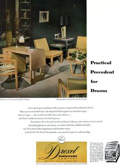 Modern Furniture Ads drexel bedroom furniture advertisement, 1955. | vintage furniture