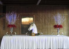 """Equine tablescape: Fox hunt table design: Hayne Hall Plantation: Horderve table for Lowcountry hunt's """"Hunt weekend"""" fundraiser. Photographed before the food arrived.Fire and Ice. Designed by Georgiana of Universal Fine Art Conservation."""