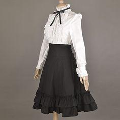 Met lange mouwen witte blouse en knielange zwarte rok Katoen School Style Classic Lolita Outfit - EUR € 79.99