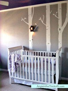 sweet baby nursery. love the birdhouse nightlight on the tree. #home #decor