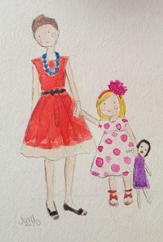 LOVE this- custom watercolor of mom and daughter- can also add a favorite toy or stuffed animal