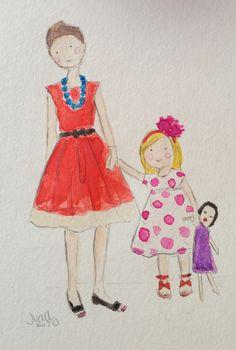 Mamá, hija y muñeca