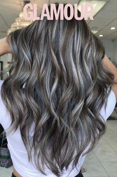 Ash Gray Hair Color, Grey Blonde Hair, Ash Hair Colors, Grey Ombre Hair, Highlights Curly Hair, Balayage Hair Ash, Gray Highlights, Grey Hair Inspiration, Medium Hair Styles For Women