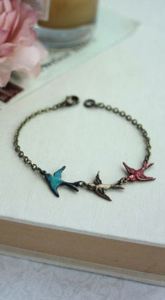 Three Tiny Flying Swallow Birds Bracelet. Teal Blue, Red, Mother Daughters. 3 Sisters. Best Friends. Seniors Graduation. Family New Baby By Marolsha. https://www.etsy.com/listing/75320390/three-tiny-flying-swallow-birds-bracelet