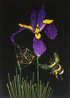 Puple Iris and Bumblebee