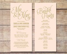 Whimsical gold typefaces set the tone for a glamorous & romantic affair. Can be customized to suit any even or color theme.  This listing is