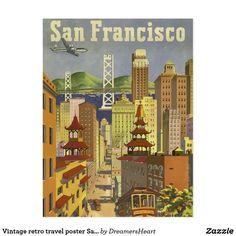 Vintage retro travel poster San Francisco USA Postcard