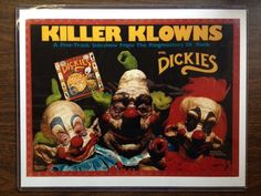 The Dickies Vintage 1988 Killer Klowns From Outer Space Promotional Poster Flat