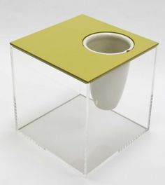 El Tapar side table now available on line at www.caja.com.au!  Lid Option 5 in Mustard WIth VASE OR ENTERTAIN by adding ice and your champagne bottle - Make it yours and design your own furniture!
