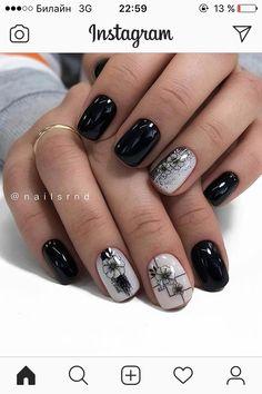Black Nail Designs, Acrylic Nail Designs, Acrylic Nails, Daily Nail, Black Nails, Manicure, Nail Art, Beautiful, Fashion
