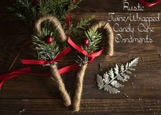These rustic twine candy cane ornaments are the perfect way to add some rustic charm to your Christmas decorations! Quick, cheap, and easy to make. Rustic Christmas Ornaments, Cabin Christmas, Homemade Christmas Decorations, Diy Ornaments, Country Christmas, Outdoor Christmas, Christmas 2019, Christmas Lights, Christmas Stockings