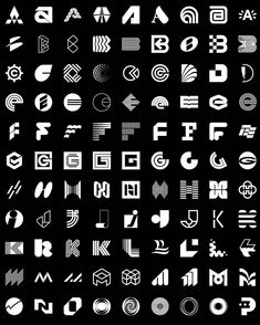 🤯 A small selection of the 306 letter logos from the book Letters As Symbols…. 🤯 A small selection of the 306 letter logos from [. Tattoos Mandala, Tattoos Geometric, Geometric Logo, Carta Logo, Graphic Pattern, Inspiration Logo Design, Typographie Logo, Typography Alphabet, Book Logo