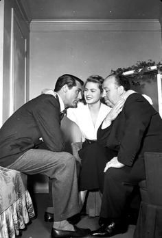 "Alfred Hitchcock, Cary Grant and Ingrid Bergman during the filming of ""Notorious'', 1946"