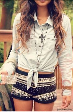 Jean shirt  printed shorts Outfit! The Fashion: Gorgeous dress black fur Summer outfits Teen fashion Cute Dress! Clothes Casual Outift for • teenes • movies • girls • women •. summer • fall • spring • winter • outfit ideas • dates • school • parties mint cute sexy ethnic skirt