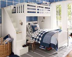 Discover boys room ideas and inspiration at Pottery Barn Kids. Shop our favorite boys bedrooms for furniture, bedding, and more. Cool Bunk Beds, Kids Bunk Beds, Girl Room, Girls Bedroom, Bedroom Decor, Bedroom Furniture, Bunk Rooms, Shared Bedrooms, Pottery Barn Kids