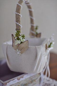 Burlap and lace flower girl basket | Etsy