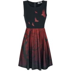 Dress from Black Premium by EMP:  - Sublimation print on the skirt part - Sleeveless - Crew neck - Length: short  The Bough Skull dress from Black Premium by EMP has a cool and stylish colour-blocking design. The top part is black, while the lower part of the skirt fades into a red colour. It also features an inverted-colour motif of birds and trees, creating a striking contrast effect.