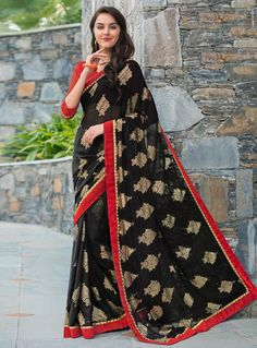 Black Georgette Embroidery Work Saree 80562