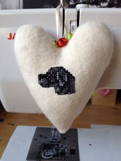 Fabric Hanging Heart hand embroidered with a Black Labrador Retriever on Etsy, £8.50