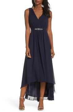 Great for Eliza J Wrap Look High Low Chiffon Dress (Regular Petite) womens 80521905202