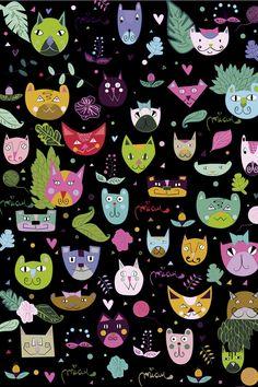 """""""Miau"""" Emi Finessi Buenos Aires, Argentina  #cat #cats #catart #kitten #kitty #kitties #art #illustration #drawing"""
