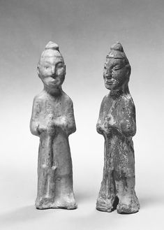 Standing Farmer holding a Pitchfork, Earthenware with green lead glaze, China