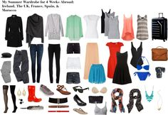 My Summer Wardrobe for 4 Weeks Abroad: Ireland, The UK, France, Spain, & Morocco Travel Wardrobe, Summer Wardrobe, Capsule Wardrobe, One Suitcase, Travel Light, Travel Style, Just In Case, Spring Fashion, Bathing Suits