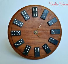 Wall Clock Made from Old Wooden Dominos and Round Cutting Board. Get the instructions