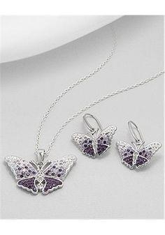 Butterfly Jewelry set Earrings In 92.5 Sterling Silver