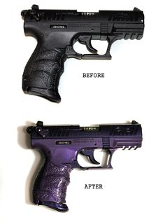 My gun: before and after pic. Walther P22 in purple