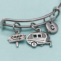Camp bangle camp charm bracelet expandable bangle by Toodaughters