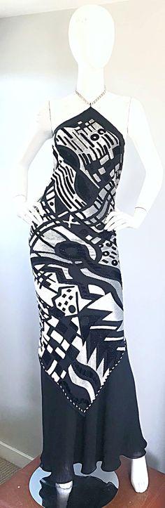 Melinda Eng Runway Sample Black + Silver Silk Cut - Out Velvet Rhinestone Gown 3