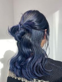Hair Dye Colors, Hair Color Blue, Dyed Hair Blue, Hairstyles Haircuts, Pretty Hairstyles, Cut My Hair, Hair Cuts, Kpop Hair Color, Short Blue Hair
