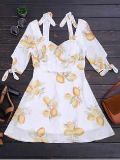 Cut Out Lemon Cold Shoulder Mini Dress - FLORAL M