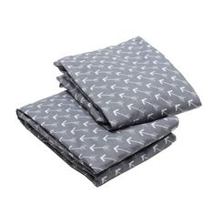 Bacati - Arrows Crib/Toddler Bed Fitted Sheets 100% Cotton Percale, Grey/White, 2-Pack, Gray