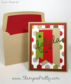 Falala for Seasonal Frame Thinlits Dies! - http://stampinpretty.com/2015/08/falala-for-seasonal-frame-thinlits-dies.html  Falala for the Stampin' Up! Seasonal Frame Thinlits Dies highlighted in this simple & pretty Christmas card.  More details & Stampin' Up! card ideas on my Stampin' Pretty blog, http://stampinpretty.com.  Mary Fish, Independent Stampin' Up! Demonstrator.