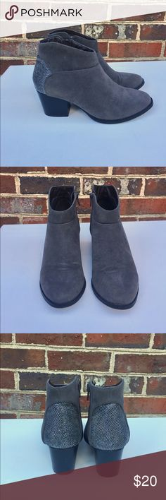 "Cato booties- 🍂fall weather 🍁 Cato gray booties, worn only twice. Chunky heels, all man made materials- suede like material with black and silver sparkly back material. Size 6, length 9"", height 6"". Super cute! Cato Shoes Ankle Boots & Booties"