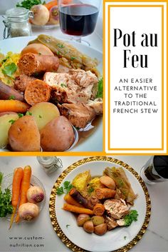 Although it does taste heavenly, the traditional ingredients for a Pot au Feu are not ingredients I have on hand on a weeknight. If you are like me, I can make due with yummy, albeit non-traditional versions of recipes. This dish is not your average stew- forget thick and heavy gravy like sauce. It has a broth-like consistency that is flavored with all the veggies and meats you decide to cook in it.