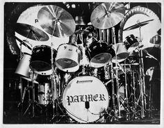 Carl Palmer, 1972. Gold and black Ludwig kit, on tour with ELP.