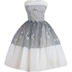 Pre-owned Vintage 1950s Gingham Daisy Cocktail Dress ($285) ❤ liked on Polyvore featuring dresses, cocktail dresses, evening dresses, gingham dress, vintage cocktail dresses, preowned dresses, gingham check dress and tail dresses