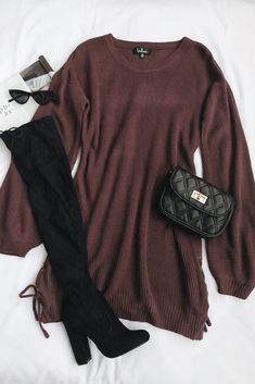 Maybe not in brown, but I definitely love the dress - Mode-Outfits - Fashion Outfits Teen Fashion Outfits, Mode Outfits, Fashion Women, Fashion Pics, Ootd Fashion, Fashion Online, Cute Casual Outfits, Girly Outfits, Fall Winter Outfits