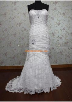 Robe de mariée sirène en dentelle perles avec lacets