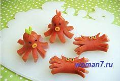 крабы и осьминоги из сосисок