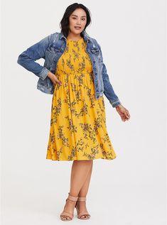 89b862d96b9 Plus Size Yellow Floral Smocked Challis Dress