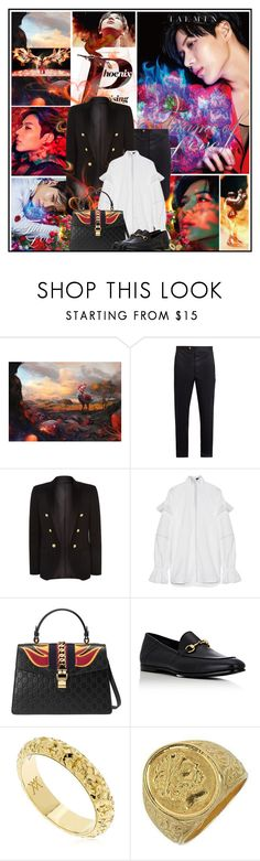 """""""Flame of Love"""" by katik27 ❤ liked on Polyvore featuring Rocio, Moncler Gamme Bleu, Balmain, E L L E R Y, Gucci, Vanzi and Torrini"""