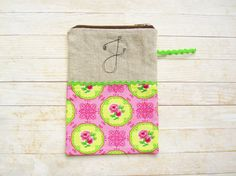 Cosmetic bag pencils case carry-all zipper pouch monogram J initial personalized wallet rose flower pink green lime cotton linen black gift by poppyshome on Etsy